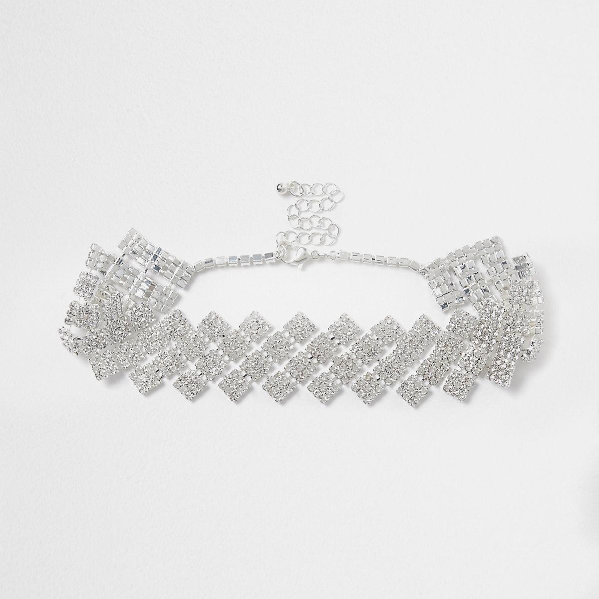 Silver tone diamond rhinestone choker