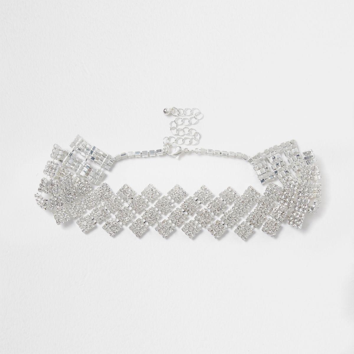 Silver tone diamond diamante choker