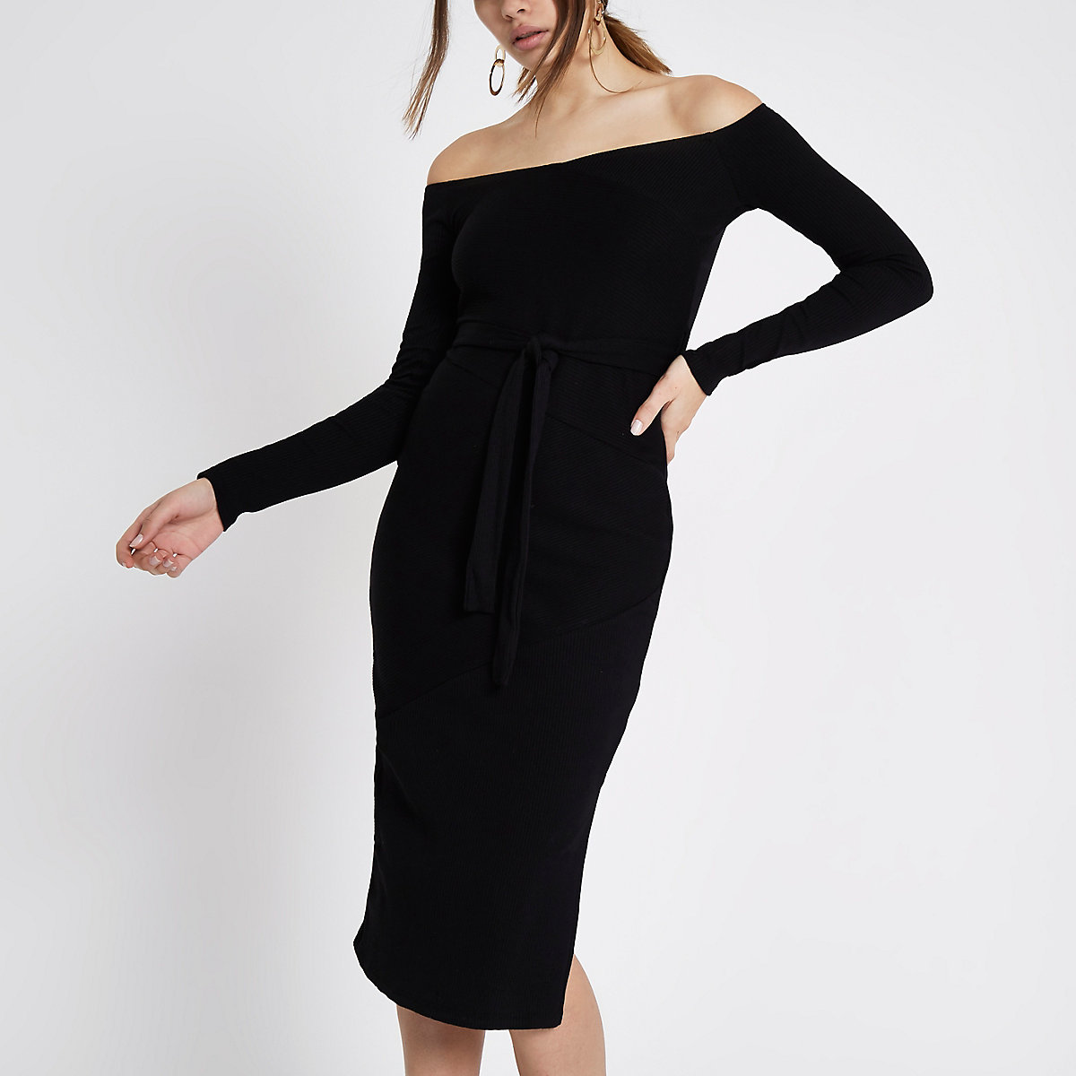 Black rib bardot tie waist midi dress