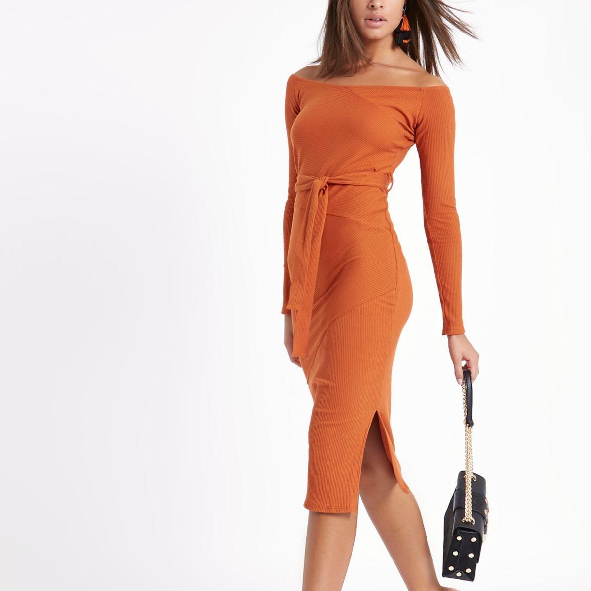 Orange rib bardot tie waist midi dress