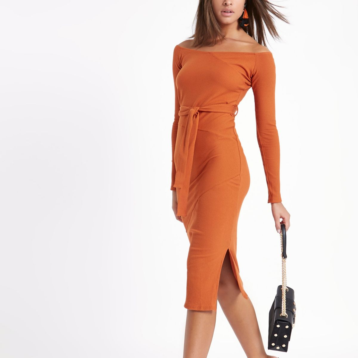 Orange rib bardot tie waist midi dress
