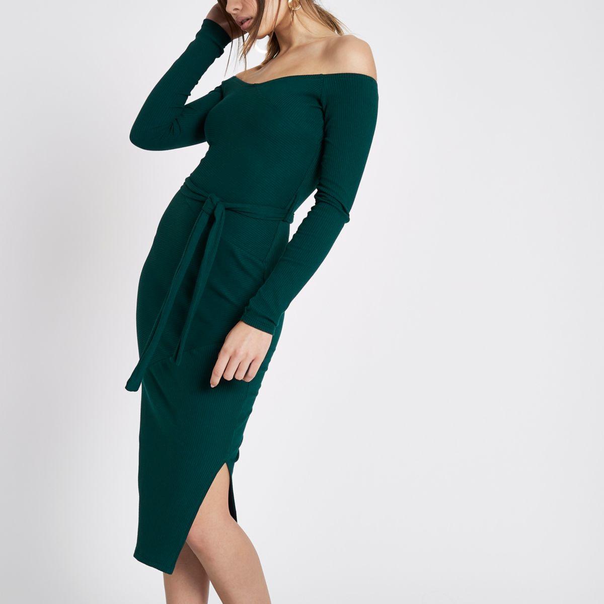 Dark green rib bardot tie waist midi dress