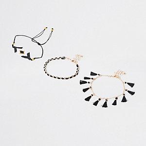 Black seebead bracelet multipack