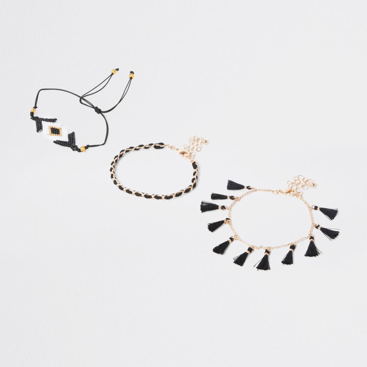 Multipack zwarte armbanden met kraaltjes