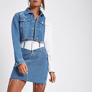 Blue contrast crop denim jacket