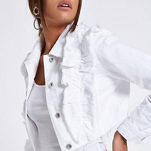 Veste en denim courte blanche à volants et ourlet brut