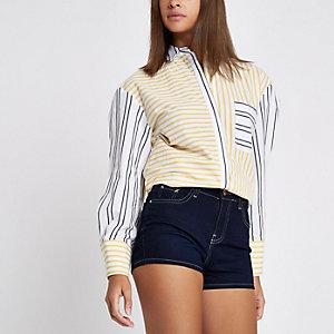 Short en jean bleu foncé taille haute