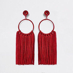 Red hoop tassel drop earrings
