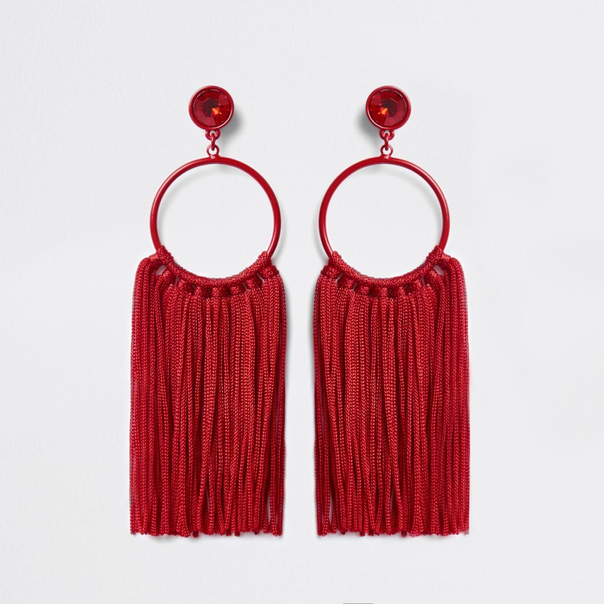 Red hoop tassel drop earrings