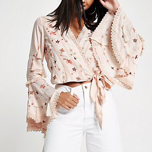 Pink embroidered frill wrap crop top