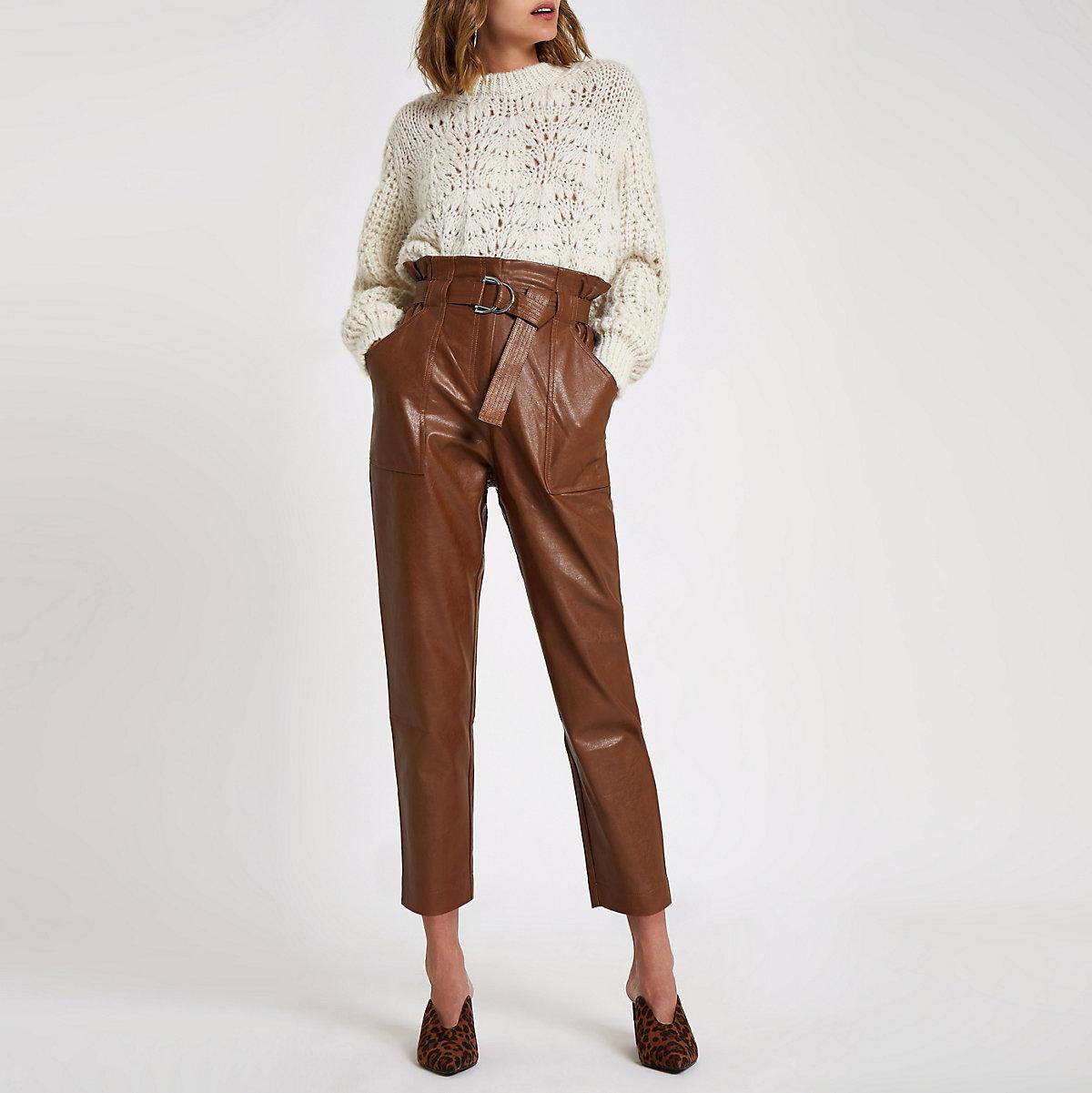 Dark brown paperbag waist trousers