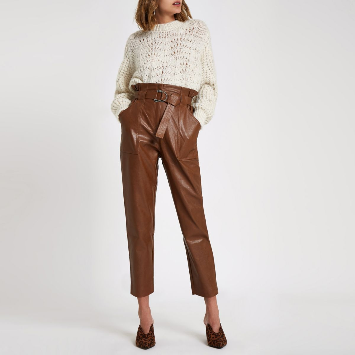 Dark brown paperbag waist pants