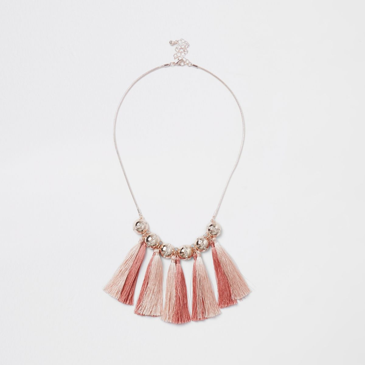 Gold tone pink tassel and rhinestone necklace