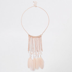 Rose gold tone feather cupchain necklace