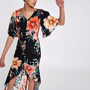 Black floral print ruched front maxi dress