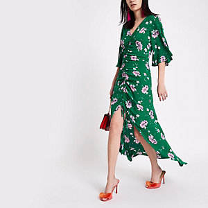 Green floral print ruched front maxi dress