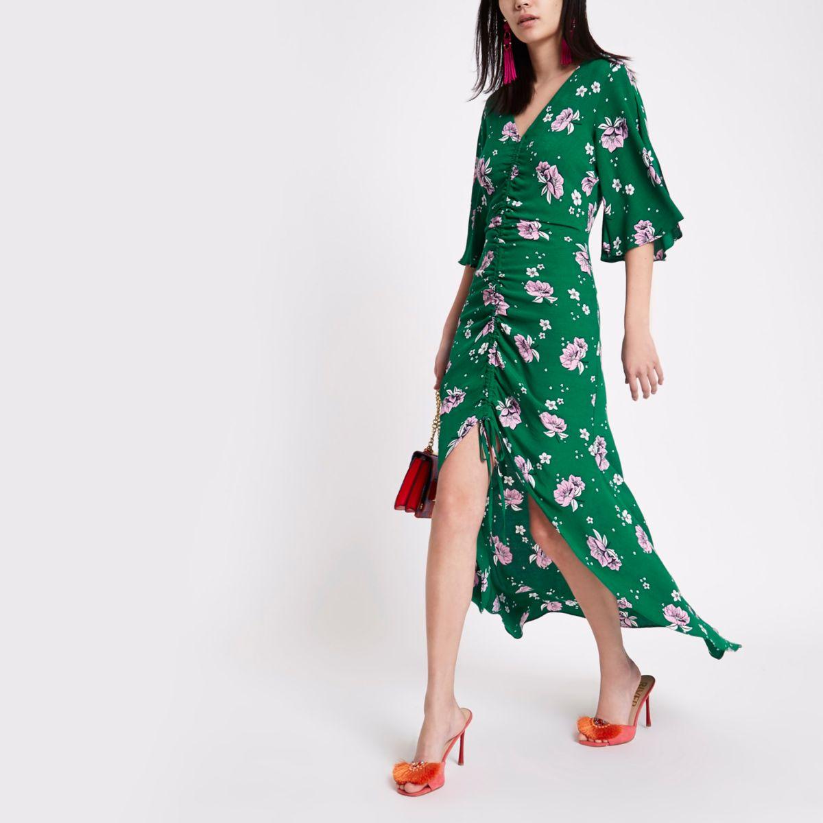 Groene maxi-jurk met bloemenprint en ruches aan de voorkant