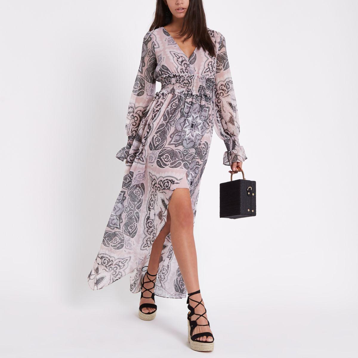 Pink paisley print maxi dress