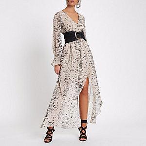 Crème maxi-jurk met abstracte print