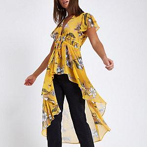 Yellow floral tie front kimono