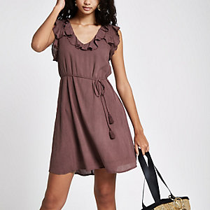 Dark purple frill lace-up back swing dress