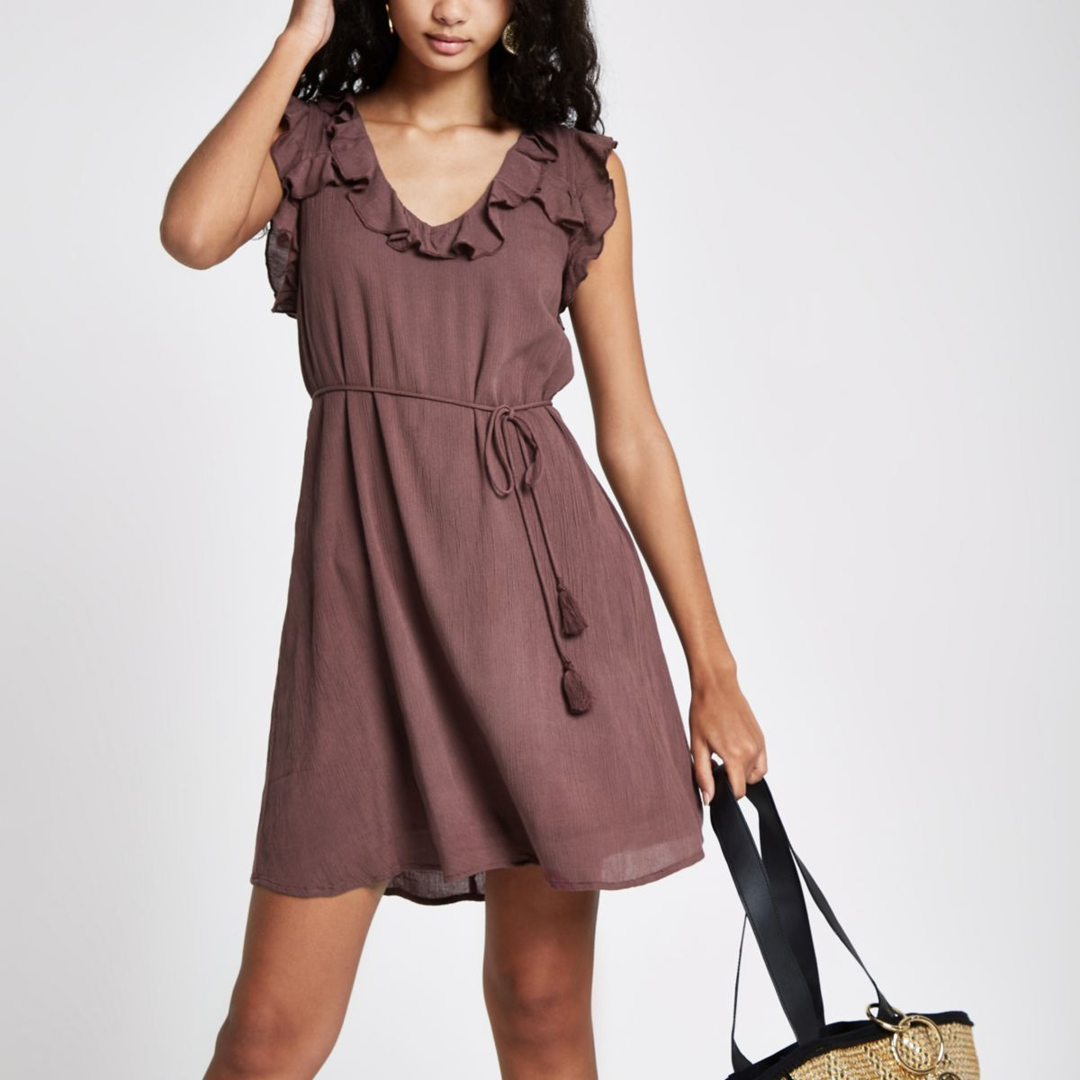 Womens Dark Purple frill lace-up back swing dress River Island Outlet Authentic Outlet Purchase Cheap Eastbay Sale Shop iflssGmfz2