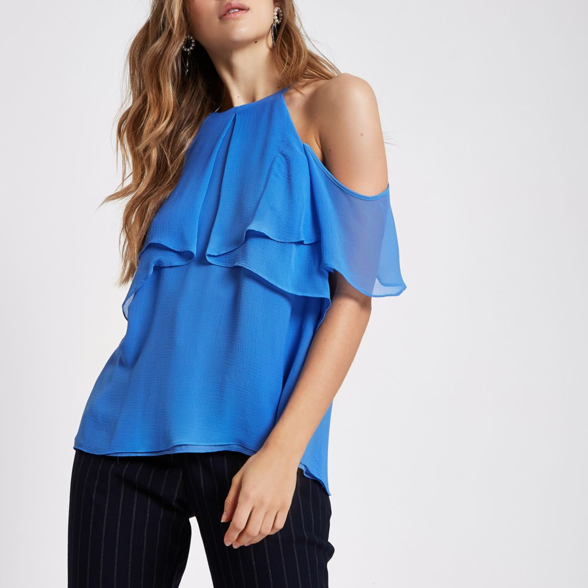 Blue tiered frill cami blouse