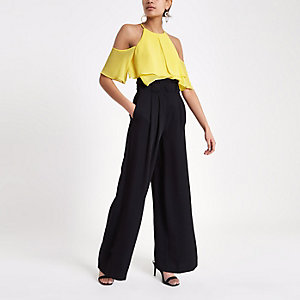Yellow frill sleeve cold shoulder blouse