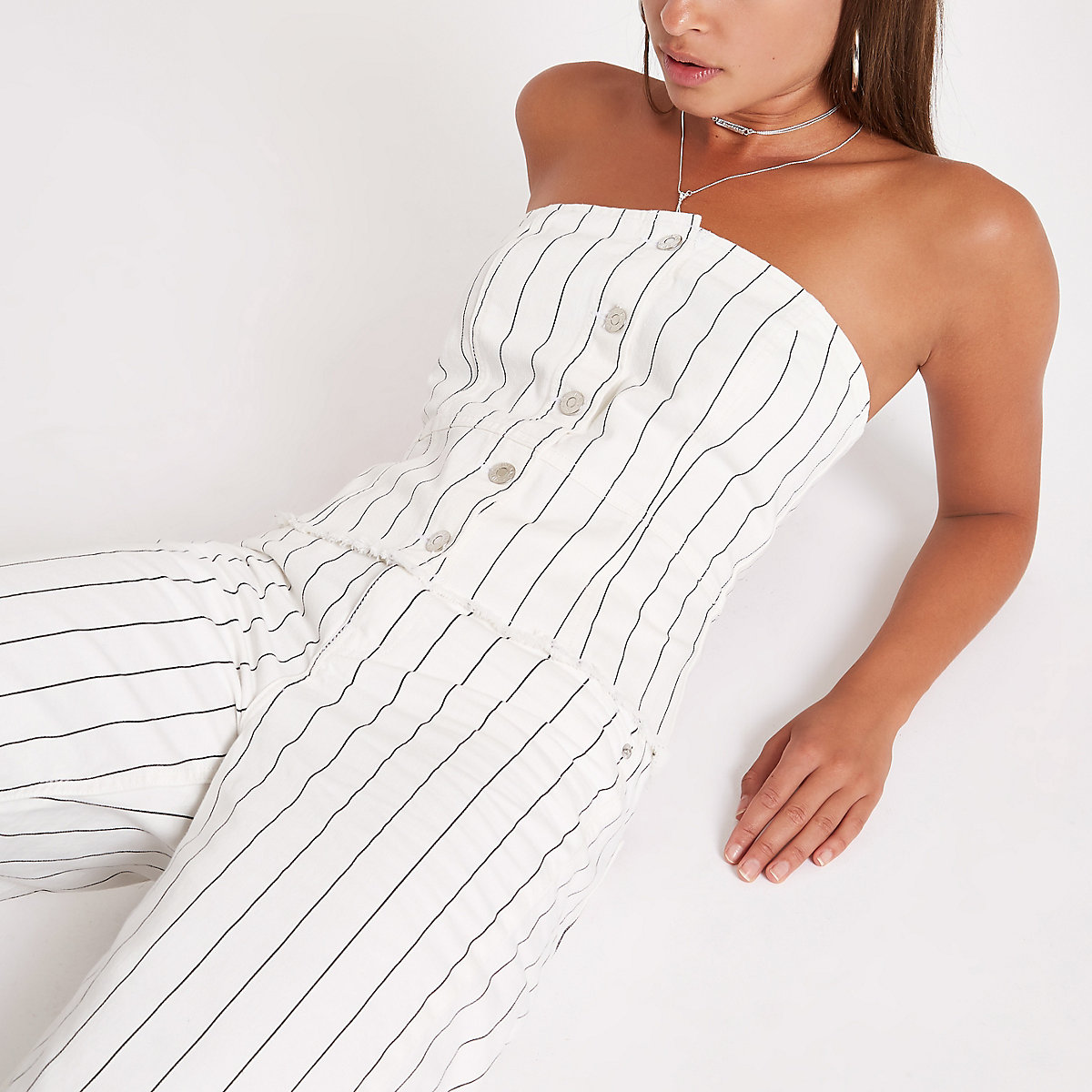Cream pinstripe bandeau denim bustier top