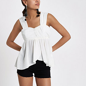 White pleated cami top