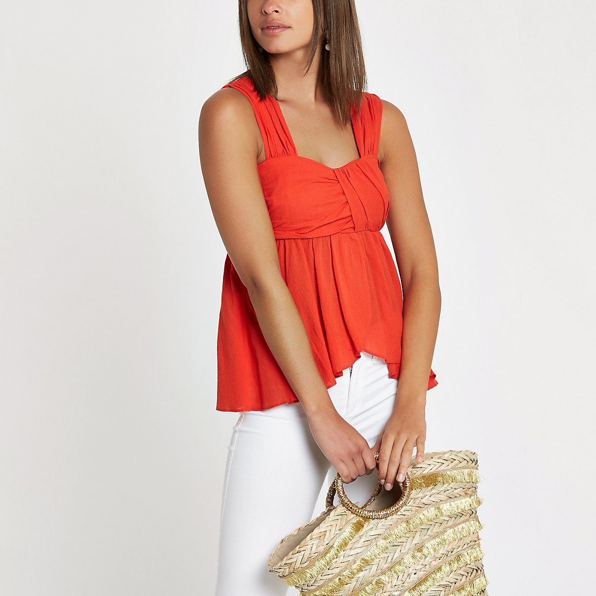 Red pleated cami top