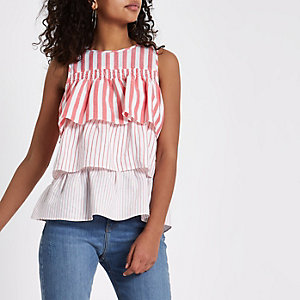 Red stripe tiered frill top