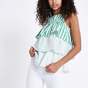 Green stripe tiered frill top