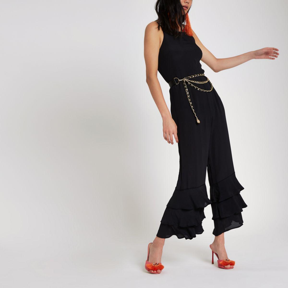 Black tiered frill leg jumpsuit