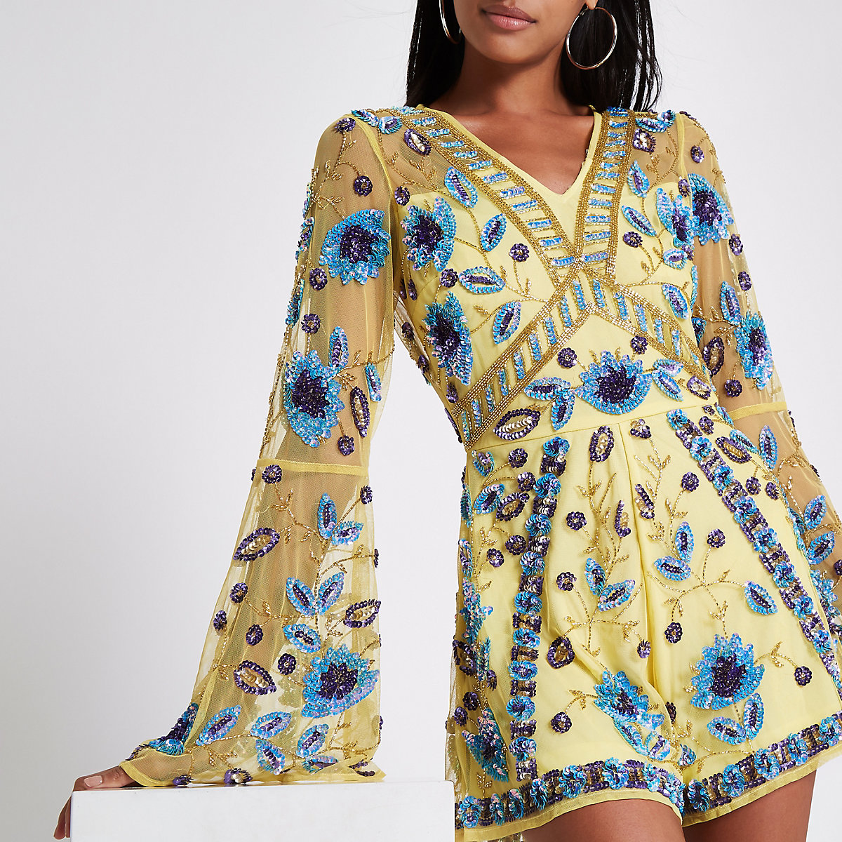 Yellow floral sequin embellished playsuit