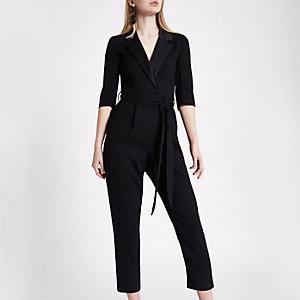 Black tuxedo tapered jumpsuit
