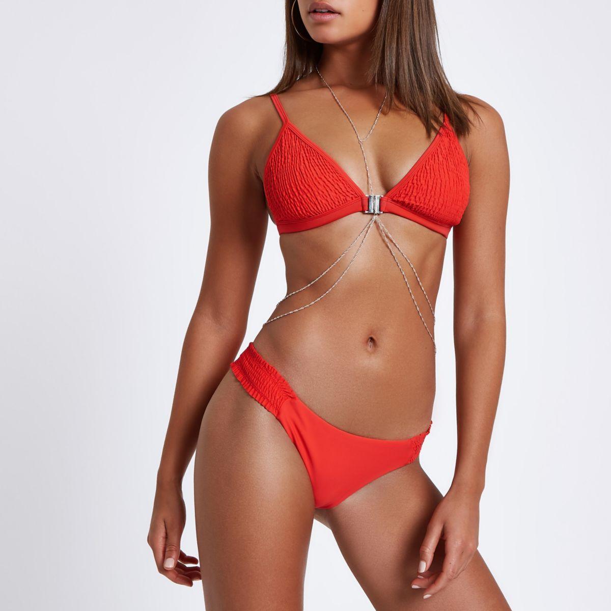 Red shirred high leg bikini bottoms