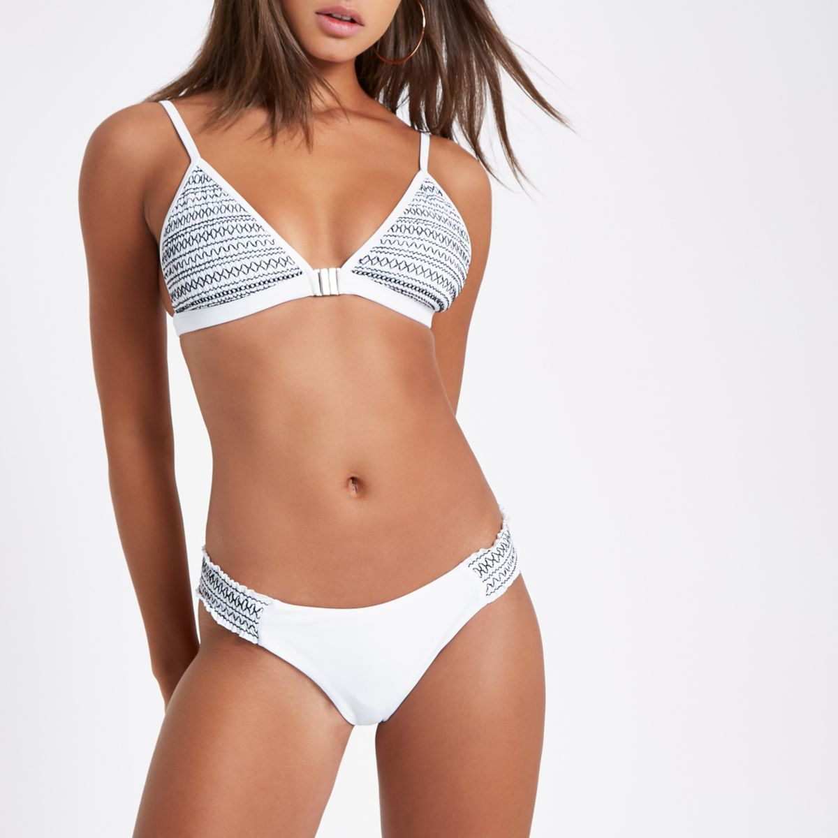 White stripe shirred triangle bikini top