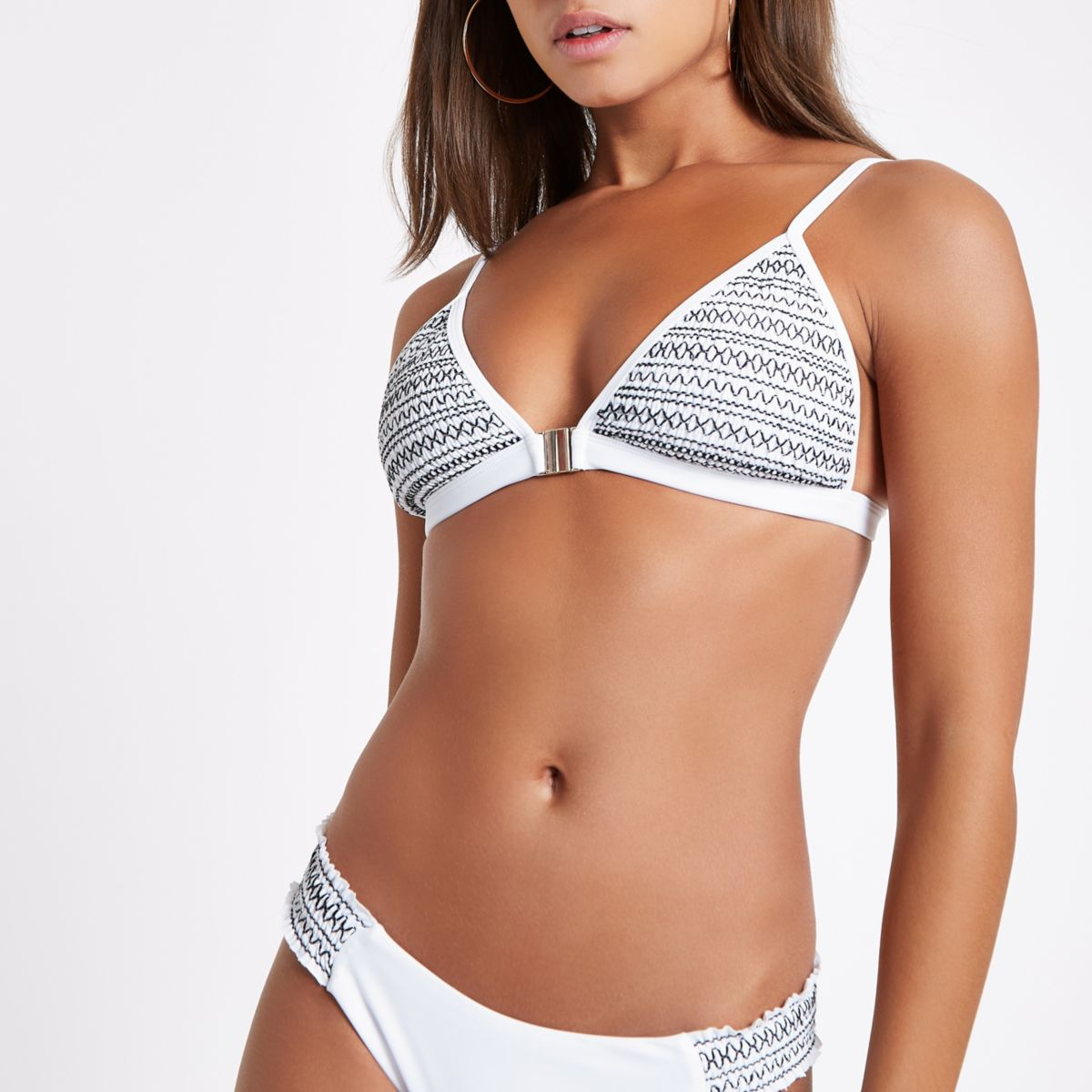 White shirred stripe side bikini bottoms