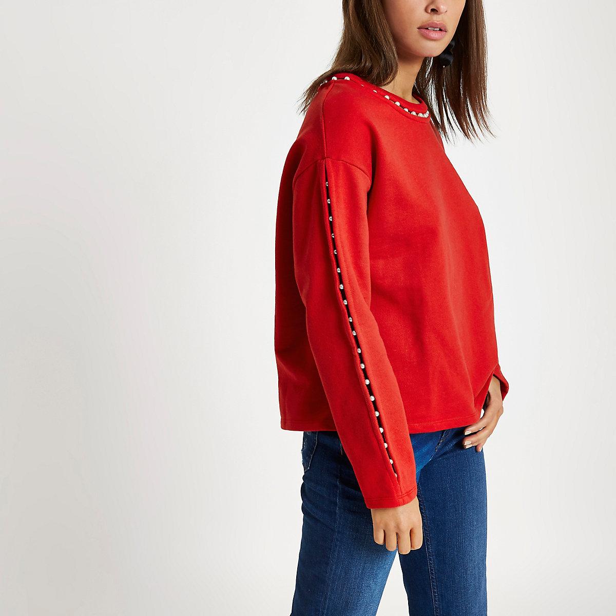 Red faux pearl neck sweatshirt