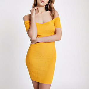 Orange rib lace-up back bardot bodycon dress