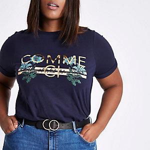 Plus navy 'comme ci' print t-shirt