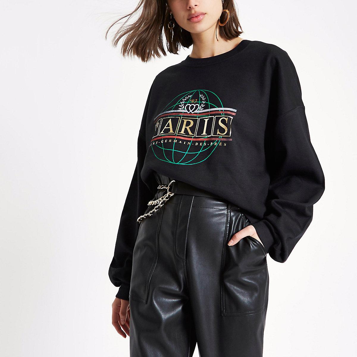 Zwart sweatshirt met 'Paris'-folieprint