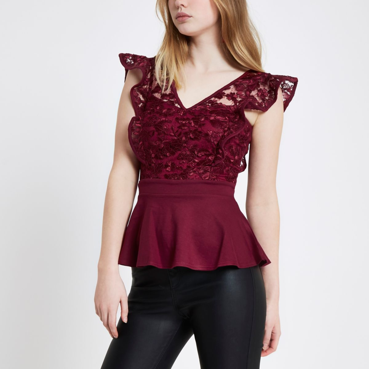 Dark red lace frill peplum hem top