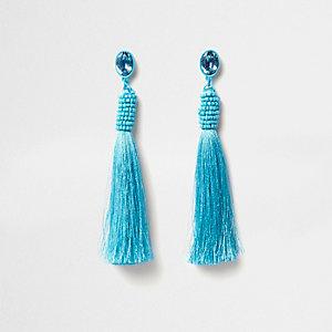Blue jewel seedbead tassel drop stud earrings