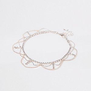 Bracelet de cheville à maillons façon or rose