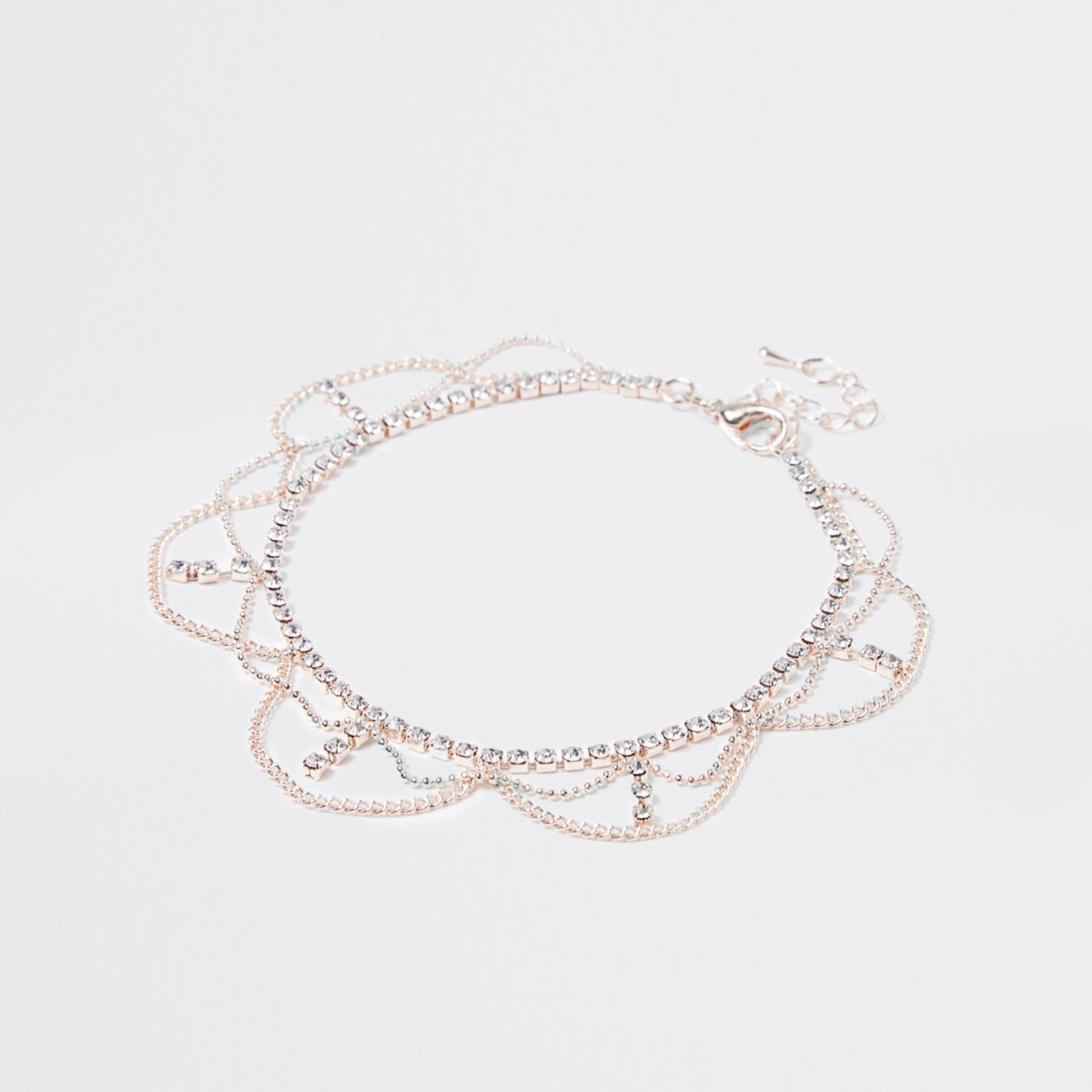 Rose gold tone cupchain drape anklet