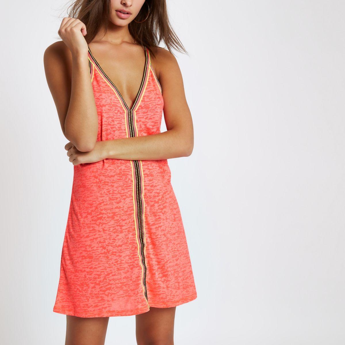 Bright pink burnout stripe trim beach dress