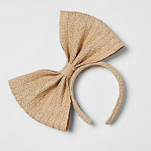 Light brown straw bow headband