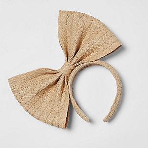 Light brown straw bow headband